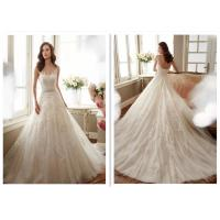Gorgeous Strapless A Line Wedding Dress / Beautiful French Lace Wedding Dress