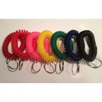 China High quality spiral wrist coil key chains economical color keyring holder w/round key ring wholesale