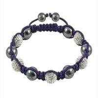 China White Crystal Beads with Purple Rope 10mm Tresor Paris Crystal Bangle Bracelets  wholesale