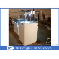 China Wood Square Custom Glass Display Cases / Pedestal Showcase With Cabinet Locks wholesale