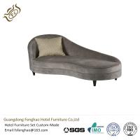 China Elegant Grey Fabric Back Round Chaise Lounge Indoor Solid Wood Classical Style wholesale
