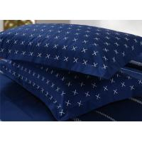 4Pcs Blue Bedding Sets , 100% Cotton Diamond Embroidered Navy Simple Bedding Sets