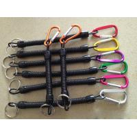 China Assorted colors carabiner black spiral coil lanyard holder w/key ring as plier safe leash wholesale