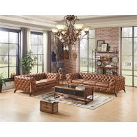 China Home Furniture Tan Brown Soft Genuine Leather Sofa Set With Multi Deep Buttons wholesale