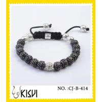 China Plating with rhodium / rose gold 10mm crystal beaded bracelets wholesale