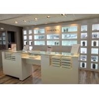 China Customized Logo High Wall Display Cabinets / Jewelry Display Cases Beige Color wholesale