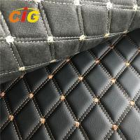 Quality Embroidery PVC leather Used for Car Seat Car Floor with 5-6mm High Density Foam for sale