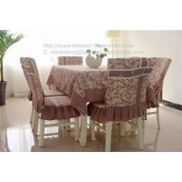China Cotton rosset tablecloth with plaid border and chair cover for outdoor table linens, on sale
