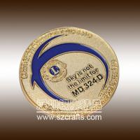 Buy cheap Lions club commemorable metal coin with gold edge from wholesalers