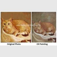 Canvas Cat Portrait Oil Painting Turn Your Photo Into A Painting Hand - Painted With Texture