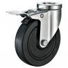 China Total Brakes Metal Industrial Cart Wheels / Slide Black Industrial Casters wholesale