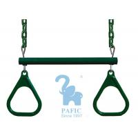 China Green Metal & Plastic Trapeze Bar And Rings Hanging With Chains Dipped wholesale