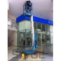 China 10m Single Mast Blue Hydraulic Lift Ladder 120kg Load For Office Buildings wholesale