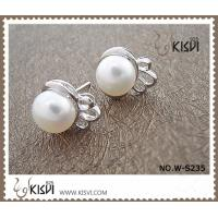 China Fashion Jewelry Small 925 Sterling Silver Gemstone Earring with Imitated Pearl W-S235 wholesale