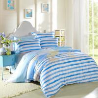 China Kids Bedroom Home Bedding Sets Environmentally Friendly Blue / Black And White Striped Bedding wholesale