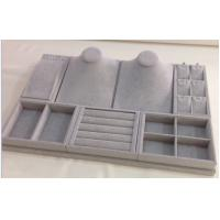 China Durable Jewelry Showcase Display Sets Grey Velvet Tray With 3 Years Warranty OEM wholesale