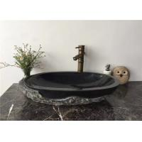 China Vessel Mounted Black Stone Sink Bowl Split Surface For Corridor , 400x400x140mm wholesale