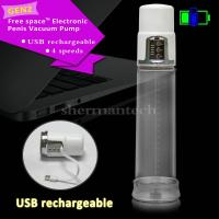 China Free space 55KPA USB rechargeable 4 speeds LED lighted electric penis vacuum enlargers pum on sale