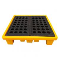 Quality High Density Poly 4 Drum Spill Containment Pallets Leak Proof For Drum Tank for sale