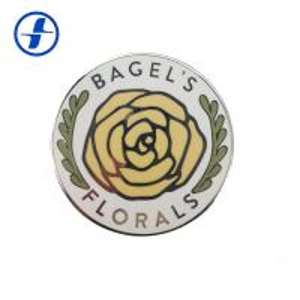 China Round Shape Hard Enamel Lapel Pins / Custom Plating Gold Flower Lapel Pin wholesale