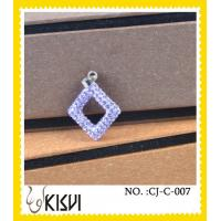 China Factory price purple CZ crystal & 925 silver square handcrafted crystal Charm wholesale