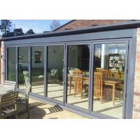 China Professional Grey Aluminium Bifold Doors , Soundproof Exterior Bi Fold Doors wholesale