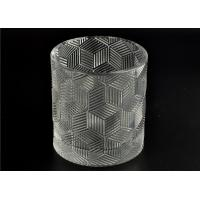 China Contemporary Glass Candle Holder Transparent With Embossed Pattern wholesale