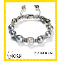 China Elegant designs plating with rhodium / gold 10mm crystal beaded bracelet wholesale