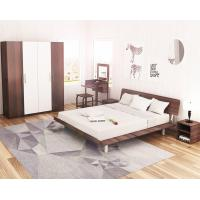China Simple Japanese tatami type bed 1.5 meters MDF with metal double bed and 1.8 single bed 1.2 modern creative walnut color wholesale
