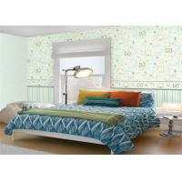 China Non Woven Cute Kids Bedroom Wallpaper Mould Proof Green Leaf Pattern wholesale