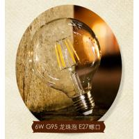China G95 E27 6W Edison COG lamp LED Filament Bulb Light clear cover and aluminum base wholesale