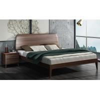 China 2017 New Walnut Wood Bedroom Furniture Nordic design King size bed wholesale