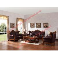China European Classic Solid Wooden Carving Frame with Italy Leather Upholstery Sofa Set wholesale