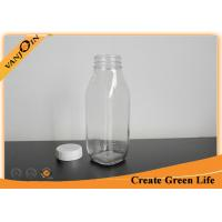 Clear 16oz 500ml French Square Glass Bottles With Screw Cap for Juice / Beverage