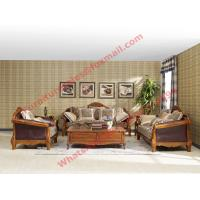 China European Country Style Classic Solid Wooden Sofa Made by Italy Leather and Fabric Sofa Set wholesale
