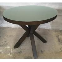 China 6MM Tempered Glass Top Round Dining Table Hotel Interior Furniture ISO Listed wholesale