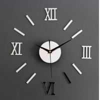 China DIY 3D Roman Numbers Mirror Style Multi-Color Wall Clock Home Decor Mirror Wall Sticker wholesale