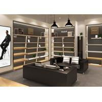 Quality High Wall Beige Shoe Display Cabinet Leisure Style Suitable For Retails Store for sale