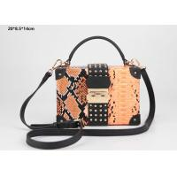 China New style snake pattern PU leather hard case clutch purse with shoulder strap wholesale