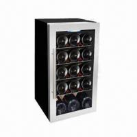 China 15-bottle Single Zone Wine Cooler, 56L/1.98cu.ft Volume, R600a, Free Standing, Wire Shelves wholesale