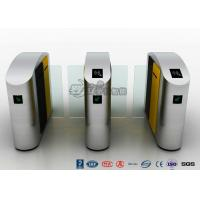 China 304 Stainless Steel Flap Barrier Gate Sliding Waist Height Turnstiles With DC Brush Motor wholesale
