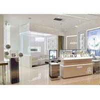 Quality Glossy White Color Makeup Display Table Pre - Assembled Structure For Retail Shop for sale