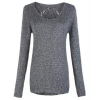 China Gray Round Neck ladies Wool cable knit sweater in  XS S M L XL Size wholesale