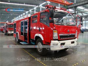 China Sinotruk HOWO 4X2 6cbm 6000liters Fire Fighting Truck with Foam Water Tank wholesale