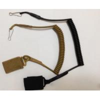 China High Security Tactical Pistol Elastic Spring Lanyard w/Belt Velcro and J-Hook Secure Handgun Dropping wholesale