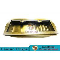 China Golden Color Square Casino Chip Tray 5 Row With Transparent Glass Cover wholesale