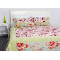 China Geometric Quilted Patchwork Bedspreads 3 Pcs Cotton Velvet Embroidered wholesale