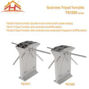 China Dual Lane Drop Arm Tripod Style Access Control Turnstile Fingerprint & RFID Reader wholesale