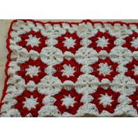 China White And Red Flowers Folded Knitted Chair Cover Square Overlocking Edge wholesale