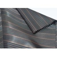China Brown Polyester Lining Fabric , Sleeve Lining Fabric Block Stripe Style wholesale